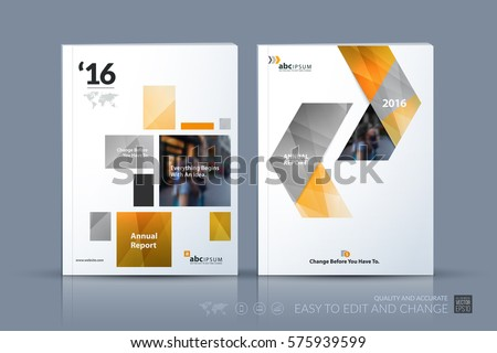 Business vector template. Brochure layout, cover modern design annual report, magazine, flyer in A4 with yellow geometric shapes, squares, triangles for business with abstract texture background.
