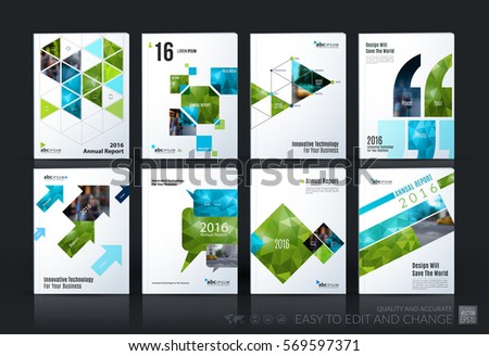 Business vector template mega set. Brochure layout, cover modern design annual report, magazine, flyer in A4 with green geometric shapes for business with abstract texture background.