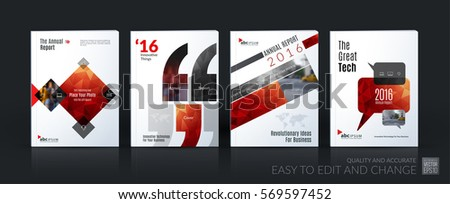 Business vector template mega set. Brochure layout, cover modern design annual report, magazine, flyer in A4 with red geometric shapes for business with abstract texture background.
