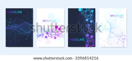 Business vector templates for brochure, cover, flyer, annual report, leaflet. Abstract composition with molecule structure, dots, lines. Wave flow. Science, medicine, technology background