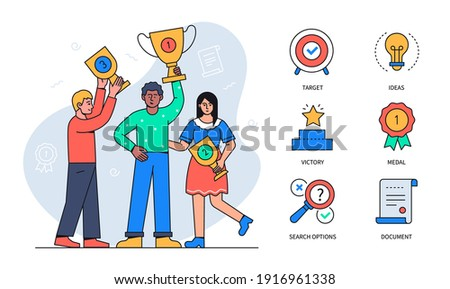 Business victory - colorful flat design style poster with thematic linear icons. A happy team, colleagues celebrating. A boy holding an award. Target, idea, victory, medal, search options, document