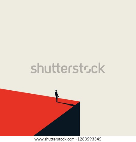 Business vision and opportunity vector concept in minimalist art style. Businessman standing on the edge of cliff looking ahead. Symbol of future, career opportunity success. Eps10 vector illustration