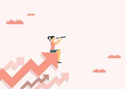 Business vision and target, Business woman holding telescope standing on red arrow up go to success in career. Concept business, Achievement, Character, Leader, Vector illustration flat.