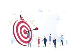 Business Vision, big target with people, teamwork, people run to their goal, move up motivation, target achievement, successful contract team work, Concept for web page, banner, presentation.