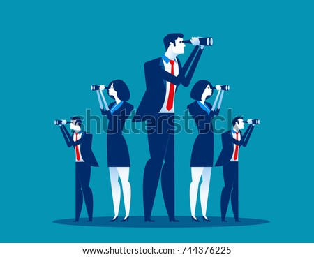 Business vision. Business team searching for success. Concept business vector illustration.