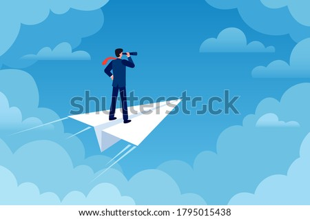 Business vision. Businessman on paper plane with telescope looking new idea. Future strategy, leader and success job, flat vector concept. Businessman vision, leadership plane motivation illustration