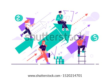 Business vision. Concept career growth. Career, start up, take-off on the career ladder. Flat style vector illustration for web page, social media, documents, cards. People sitting on arrow and up go.