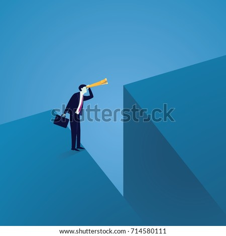 Business Vision Concept. Looking Far Away with Telescope
