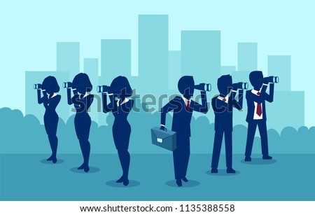 Business vision concept. Vector of a business men and women searching for success looking on opposite directions.