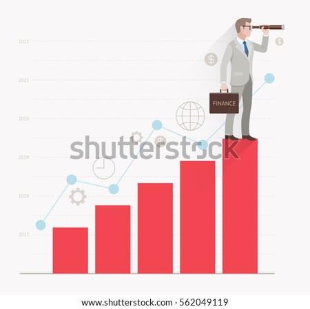 Business vision concepts. Businessman looking through binoculars standing on a bar graph. Vector illustration.