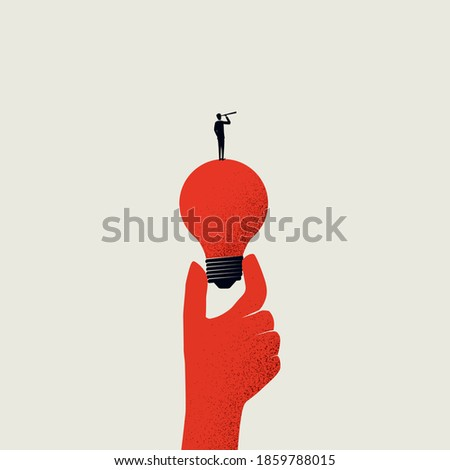 Business vision, creativity and new ideas vector illustration concept. Man standing on lightbulb with telescope. Symbol of brainstorming, future, planning. Eps10 illustration.