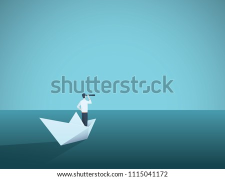 Business vision or visionary vector concept with businesswoman on paper boat with telescope. Symbol of woman leader, succes, ambition, leadership, future. Eps10 vector illustration.