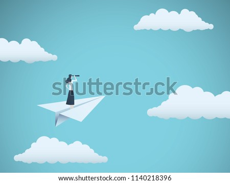 Business vision or visionary vector concept with businesswoman on paper plane with telescope. Symbol of woman leader, succes, ambition, leadership, future. Eps10 vector illustration.