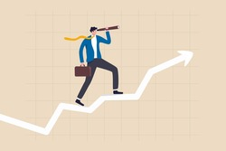 Business vision to see opportunity, investor fortune or profit growth, career achievement concept, smart businessman manager using telescope to see future standing on top of rising arrow market graph.