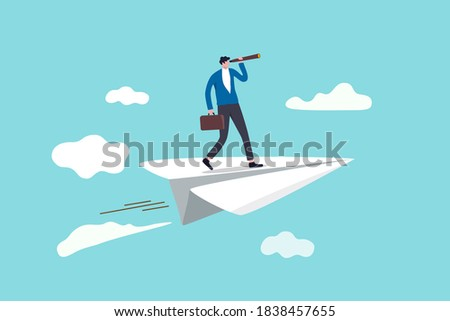 Business vision to see opportunity or strategy, discovery or visionary to look forward in business concept, confidence businessman leader on flying high paper plane looking forward through telescope.