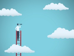 Business vision vector concept with business man standing on top of ladder above clouds. Symbol of new opportunities, career ladder, visionary, success, promotion. Eps10 vector illustration.