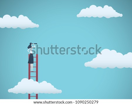 Business vision vector concept with business woman standing on top of ladder above clouds. Symbol of new opportunities, career ladder, visionary, success, promotion. Eps10 vector illustration.