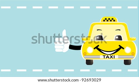 business visiting card with cheerful taxi showing thumb up