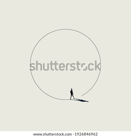 Business walk in circle metaphor vector concept. Symbol of never ending issue, no solution. Eps10 illustration. Сток-фото ©