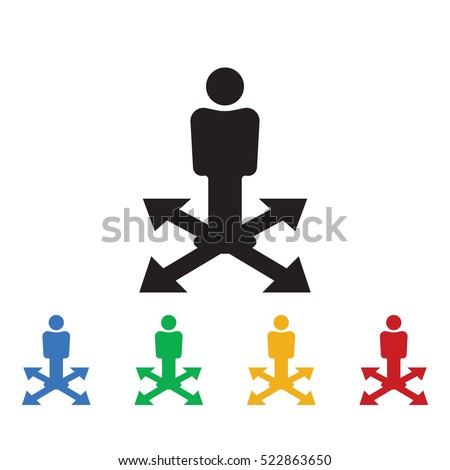 Business way Icon. Business icons set of colors