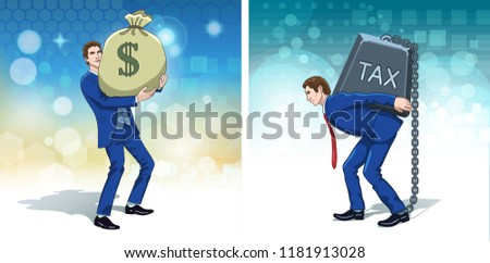 Business wealth concept clipart. Businessman with money bag and carrying tax weight. Colorful cartoon characters. Vector illustration.