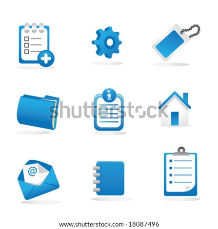 Business, Web, and Presentation Icons (Blue) - stock vector