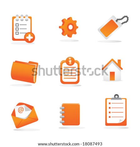 Business, Web, and Presentation Icons (Orange)