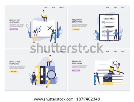 Business web banners set on regulatory compliance concept, flat vector illustration. Landing web page interfaces collection on topic of legal compliance and regulatory. Stock photo ©