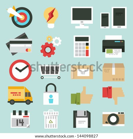 business web, commerce minimal design icons set. vector