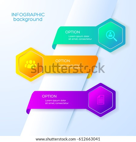 Business web infographics with icons three colorful ribbons and bright hexagons on light background vector illustration