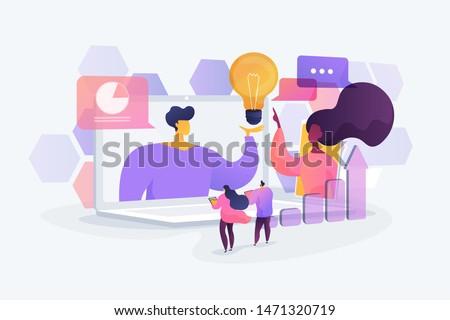 Business webinar. Internet courses and distance classes. Online business conference, meeting and negotiations, partners agreement concept. Vector isolated concept creative illustration