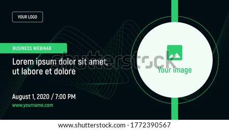 Business webinar with image and contact data on a dark background. Green vector template for webinar, conference, e-mail, flyer, meetup, party, event, web header