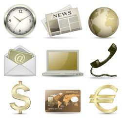 Business website gold icon set. Vector illustration