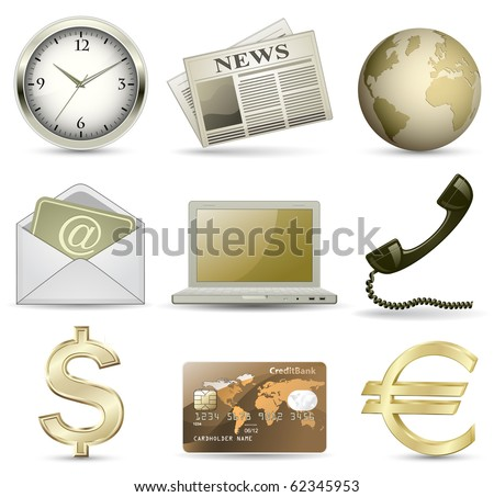 Business website gold icon set. Vector illustration