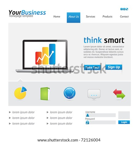 Business Website Template with icons and buttons