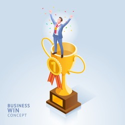 Business win conceptual design vector illustrations. Businessman standing on top trophy cup.