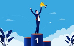 Business winner - Businessman winning first place and holding trophy in hand. Success and accomplishment concept. Vector illustration.