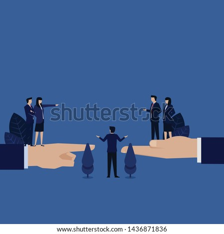 Business woman accuse other and manager reconcile both side metaphor of mediation. Illustration For Wallpaper, Banner, Background, Book Illustration, And Web Landing Page. Foto stock ©