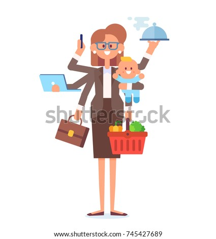 Business woman and housewife - mother with baby, working, cooking and make a shopping. Multitasking woman. Vector flat cartoon illustration.
