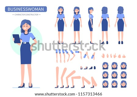 Business woman character constructor for animation. Front, side and back view. Flat style vector illustration isolated on white background.