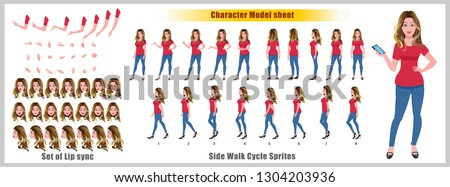 Business woman Character Model sheet with walk cycle animation. Flat character design. Front, side, back view animated character. character creation set with various views, face emotions and poses.
