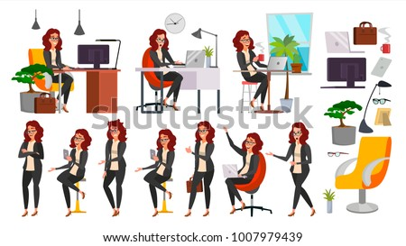 Business Woman Character Vector. Working Female, Girl. Team Room. Desk. Brainstorming. Businesswoman Working. Environment Process. Start Up Office. Effective Programmer Designer. Lifestyle Situations.
