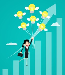 Business woman flying with idea balloon over growth chart. business concept vector illustration