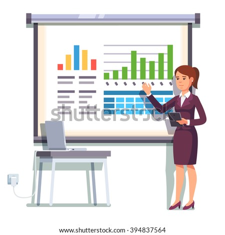 Business woman giving a speech showing sales statistics graphs on presentation screen. Flat style color modern vector illustration.