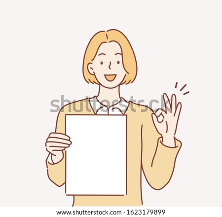 business woman holding papers and showing ok sign. Hand drawn style vector design illustrations.