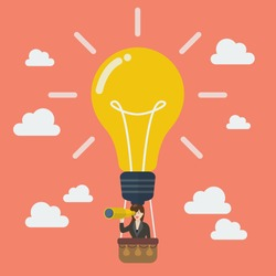 Business woman in lightbulb balloon search to success. Business idea concept
