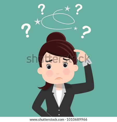 Business woman is confused, Thinking business woman surrounded by question marks , Business concept - vector illustration