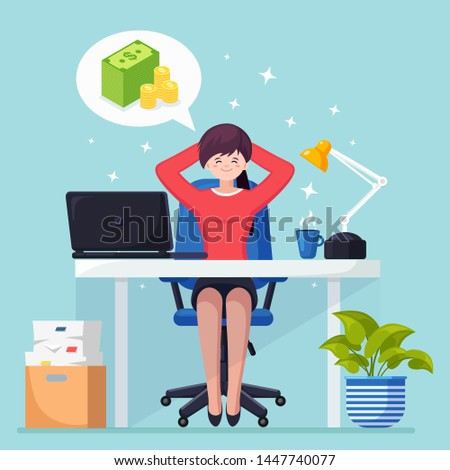 Business woman is relaxing and dreaming about stack of money, currency at office chair. Finance, investment, wealth. Workplace with laptop, lamp, paper, documents. Vector cartoon design