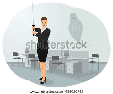 business woman is standing with