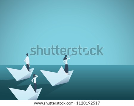 Business woman leader vector concept with businesswoman in paper boat leading team. Symbol of equality, woman power, leadership, vision. Eps10 vector illustration.